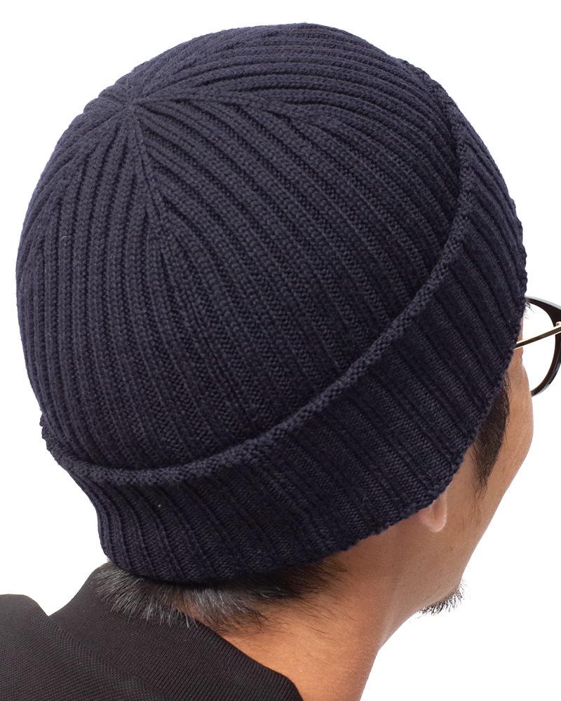 ロゴワッペン付ニット帽 ネイビー 在庫商品