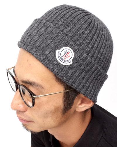 ロゴワッペン付ニット帽 グレー 在庫商品