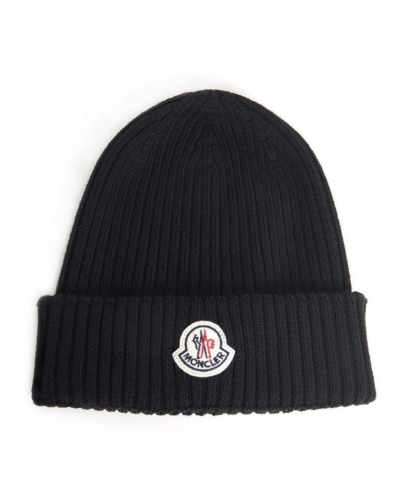 ロゴワッペン付ニット帽 ブラック 在庫商品