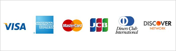 クレジットカード支払い(VISA、Master Card、American Express、JCB、Diners Club、DISCOVER)